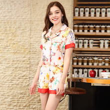 New simulation silks pajamas Womens spring and summer short-sleeved shorts home wear sleepwear set S078