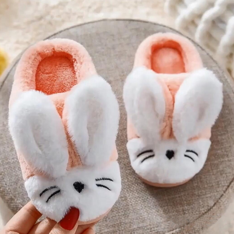 Winter kids Slippers New Cartoon Rabbit Cute Plush Home Slippers Warm Children Thicken Indoor Non slip For Boy and Girl baby|Slippers| |  - title=
