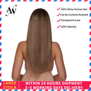 AW Wigs Blond Human-Hair Plucked Women Straight for 150%Density Cendre Hairline Transparent