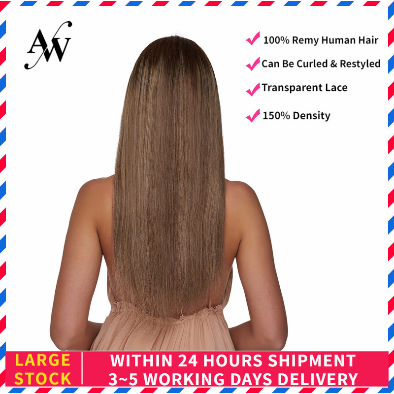 AW 20'' HD Transparent Half Lace Wigs Straight Pre Plucked Hairline Remy Human Hair Wig For Women 150% Density Cendre Blond