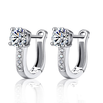NEW Pearl U Type Zircon Earrings silver color Jewelry For Women Girl Pendientes Plata Brincos Button with S925 stamp Earrings 1