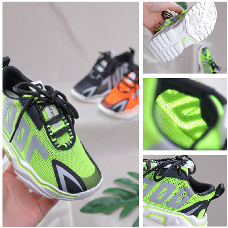 2020 Spring Autumn New Soft Sole Sneakers Non-slip Fashion Children Casual Shoes Comfortable Mesh Breathable Luminous Boys Shoes