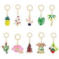 Strass legierung keychain schlüssel ring cartoon kleine frische obst anlage Weihnachten form damen tasche zubehör legierung kleine geschenke