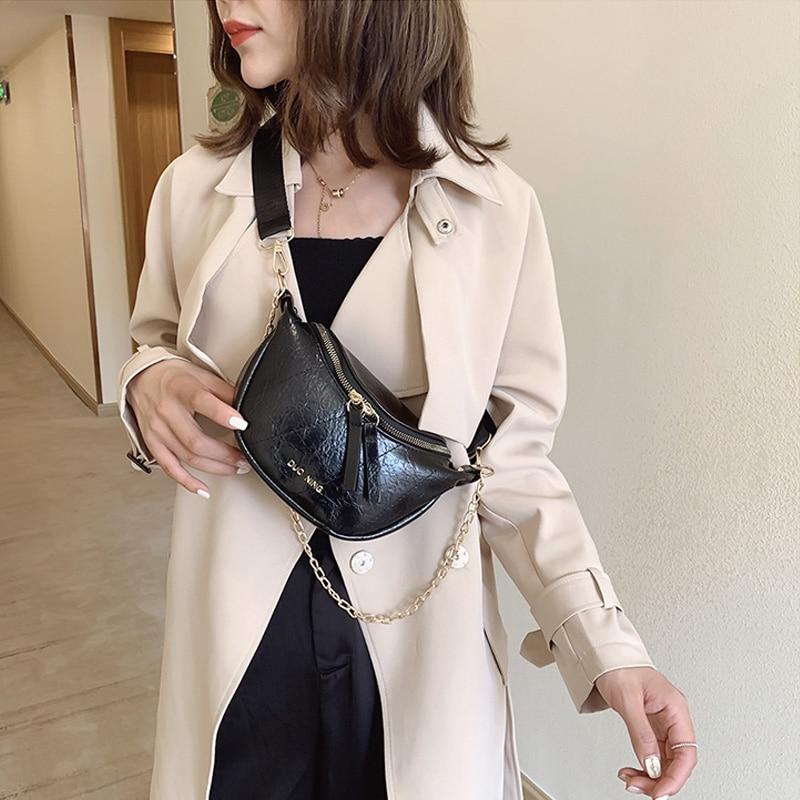 Fashion Chain Fanny Pack Women Banana Waist Bag Women Waist Packs PU Leather Chest Bag Belly Bag Shoulder Messenger Bag Female