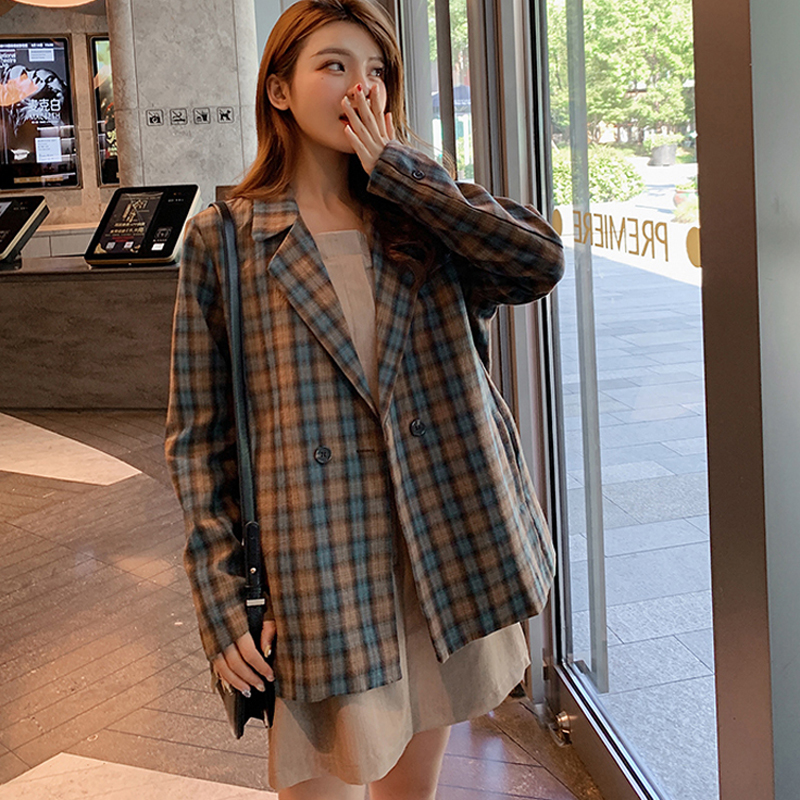 Plaid Blazer Outerwear Retro Jacket Women Suits Loose Double-Breasted Vintage Full Grid