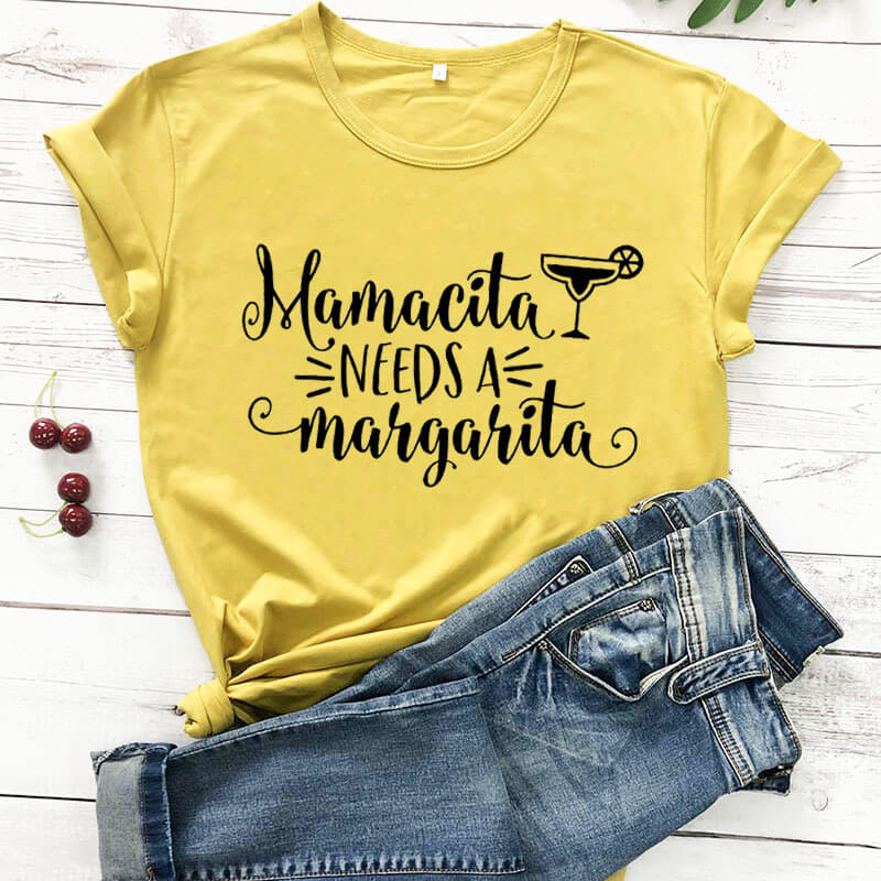 Mamacita Needs a Margarita funny women t shirt new arrival 100%cotton casual funny t shirt mother's day gift Mom lift shirt image