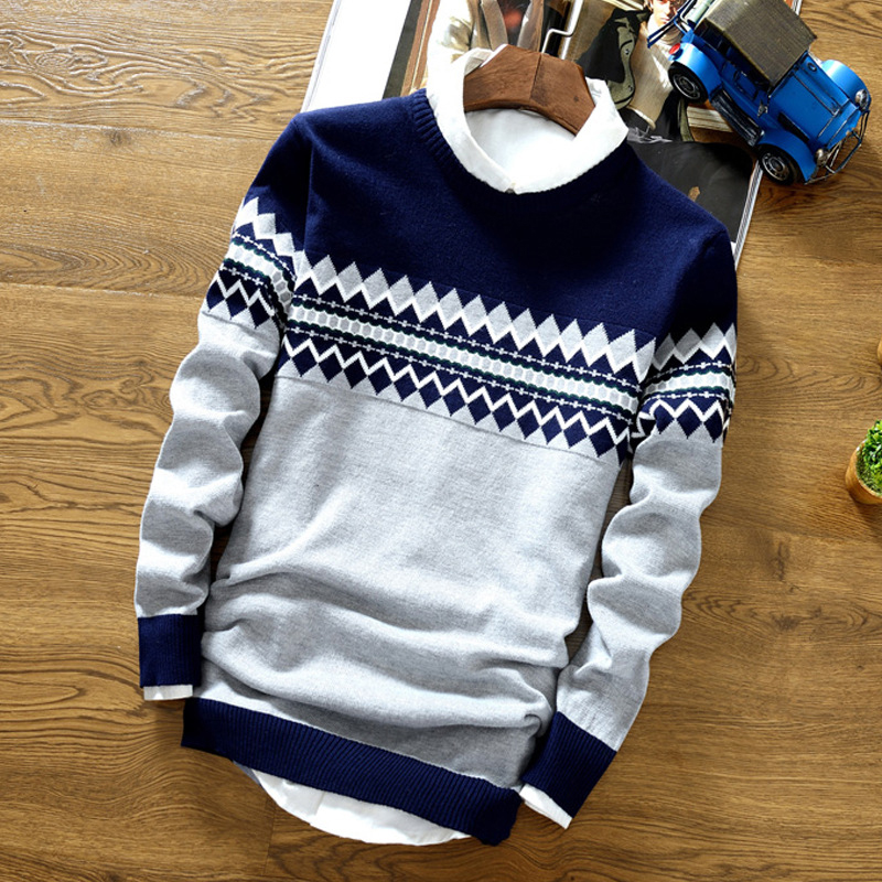 Men's Autumn Winter Warm Casual Slim Sweater Round Neck Tops Knitwear Male Fashion Long Sleeve Pullover