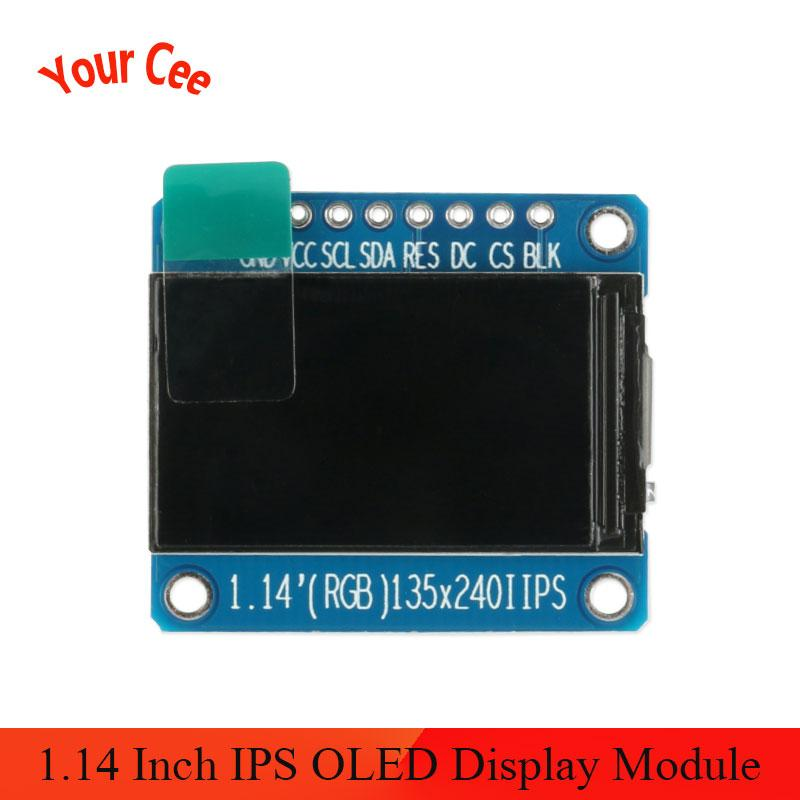 1.14 Inch IPS OLED Display Module LCD Screen 135*240 RGB TFT For Arduino ST7789 LCD Board SPI Full Color HD OLED 8pin DIY
