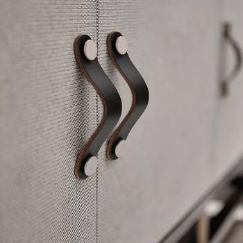 Miękki uchwyt skórzany i gałki na szafka na klatkę piersiową uchwyt do walizki ze śrubami uniwersalny tanie i dobre opinie Woodworking Mosiądz NONE CN (pochodzenie) Meble uchwyt i pokrętła 128mm Europejski leather handles drawer handle handles for dresser