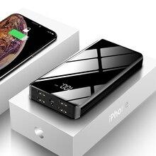 30000 мАч портативное зарядное устройство с зеркальным экраном внешний аккумулятор для Xiaomi iPhone мобильный телефон повербанк