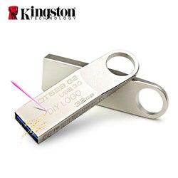 Kingston usb flash sürücü #32 gb 16gb 64gb kalem sürücü 128gb sopa metal özel disk için kordon ile tuşları Pendrive cep telefonu