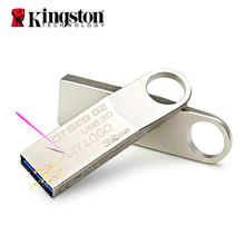 Kingston Usb Flash Drives #32 Gb 16 Gb 64 Gb Pen Drive 128 Gb Stok Metalen Custom Schijf Met lanyard Voor Sleutels Pendrive Voor Mobiele Telefoon(China)