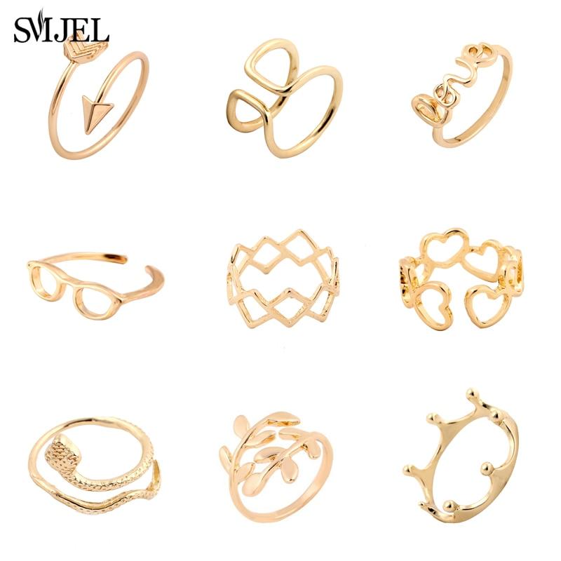 Кольца SMJEL в богемном стиле для женщин, модные свадебные украшения, змея, корона, сердце, очки, кольцо на палец, регулируемое женское кольцо, о...