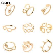 SMJEL czeski liść pierścienie dla kobiet Trendy biżuteria ślubna wąż korona serce okulary palec pierścień regulowany Anel Mujer Wholesal