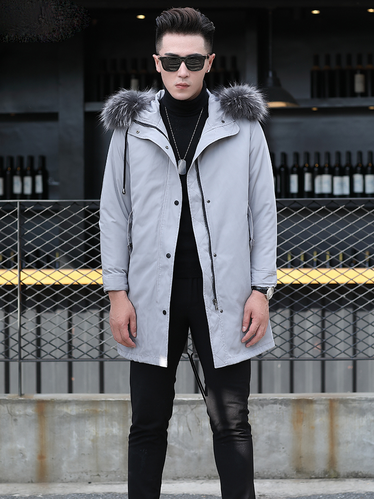Jacket Men Natural Fur Coat Real Racoon Fur Collar Parka Wool Liner Jacket Long Overcoat AXHPKF1802-1805-Y KJ831