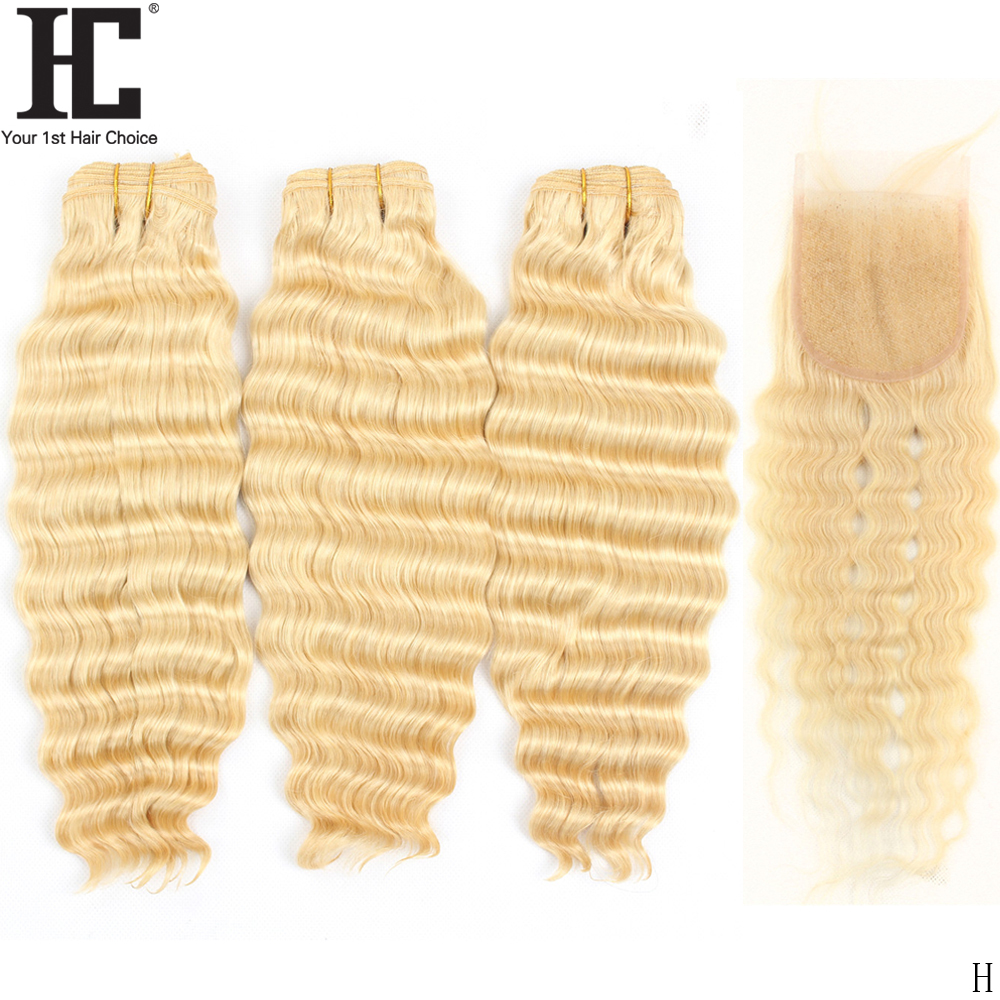 613 Blonde Bundles With Closure Brazilian Loose Deep Wave Remy Human Hair Weave Bundles With Closure 30 32 34 36 38 40 inch HC image