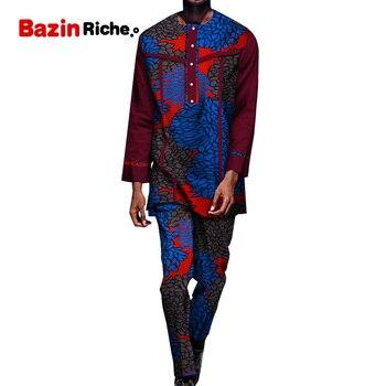 WYN1286 Men Suits 2 Pieces 2020 Fashion Patchwork African Print Cotton Dresses Casual Men Clothes Set Plus Size