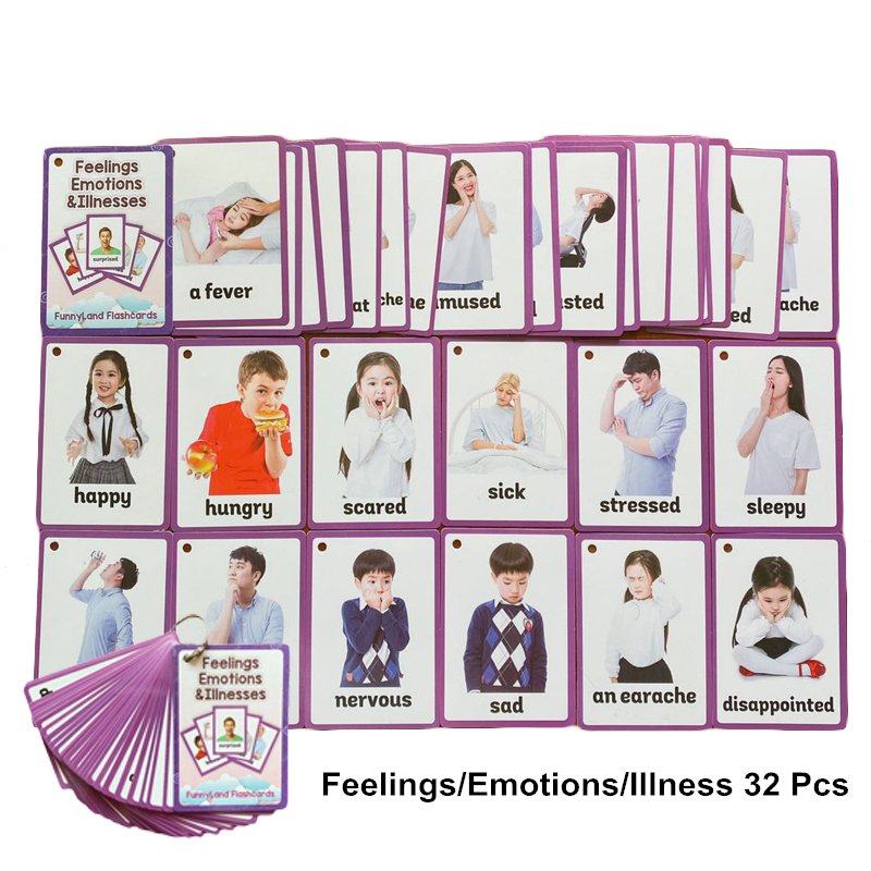 32Pcs/Set Feelings Emotions Illness English Word Card English Learning Educational Toy English Learning Cards For Kids Learn