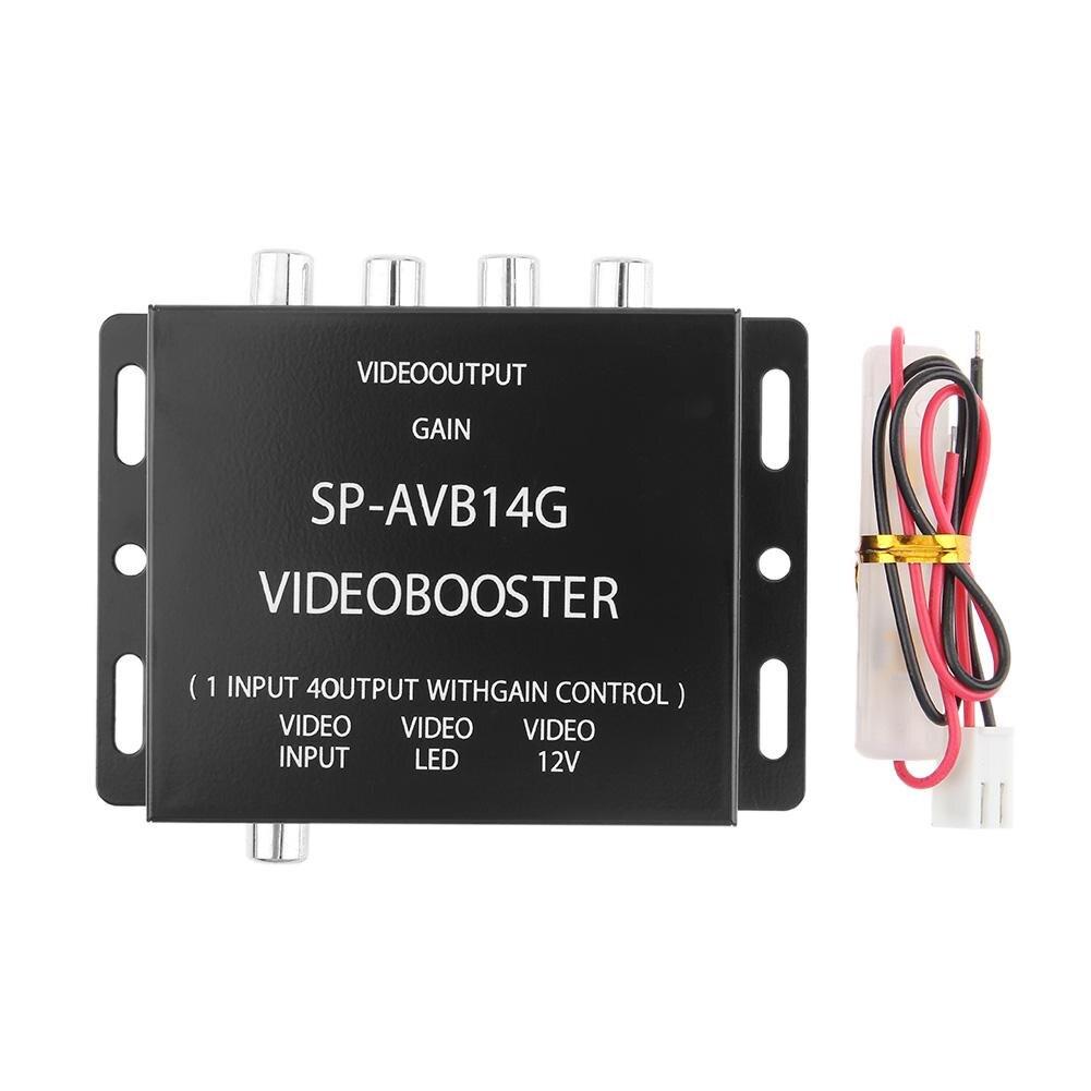 12v 1 entrada para 4 saída rca carro dvd vídeo booster amplificador divisor caixa ajustável carro dvd vídeo crossover com cabo de alimentação