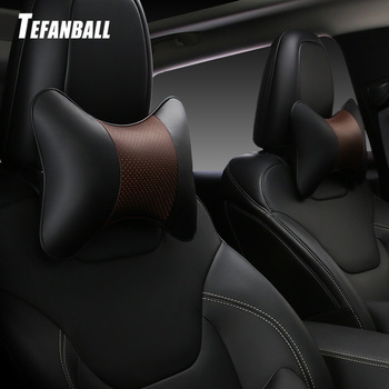 1PCS car neck pillows both side pu leather single headrest fit for most cars filled fiber universal car pillow image