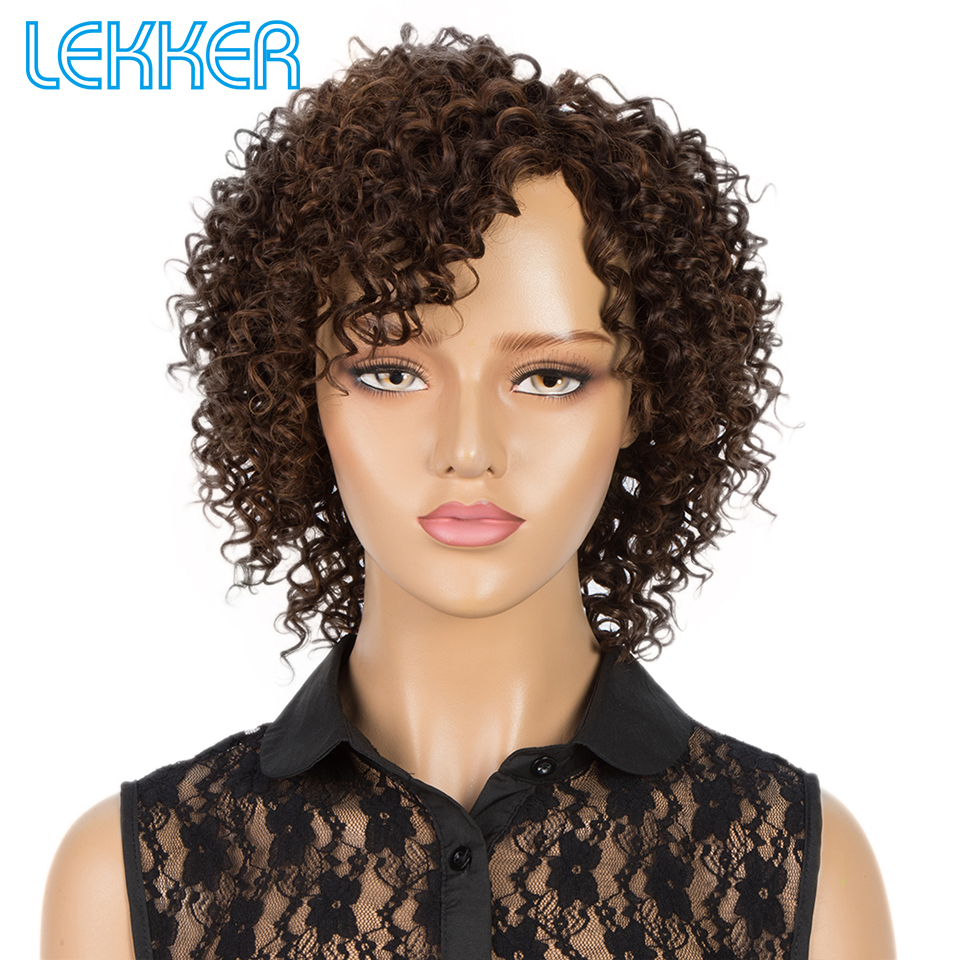 Lekker Human Hair Wigs Short Sparkle Curly Wigs For Black Women Brazilian Afro Kinky Curly Machine Made Ombre Human Hair Wigs