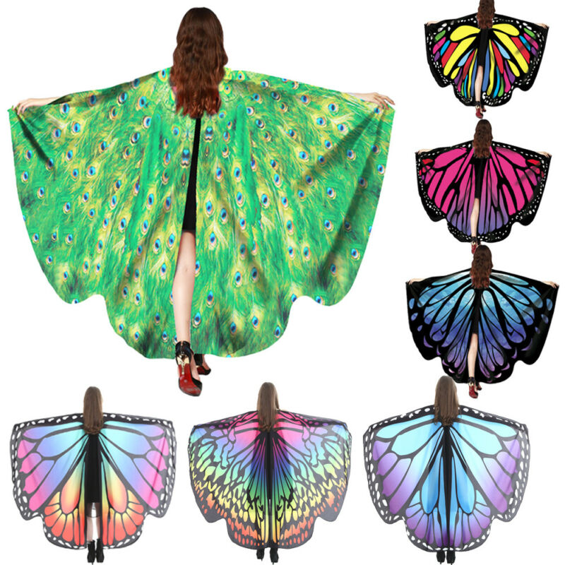 New Women Fancy Long Butterfly Colorful Wings Fairy Cape   Scarf     Scarves     Wrap   Printing Shawl