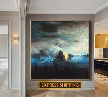 Oversize Painting Blue Painting Abstract Black Painting Texture Canvas Art Abstract Painting On Canvas Living Room Wall Art