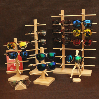 Wooden Eye Glasses Sunglasses Display Rack Stand Holder Organizer 3/4/5/6-Layer image