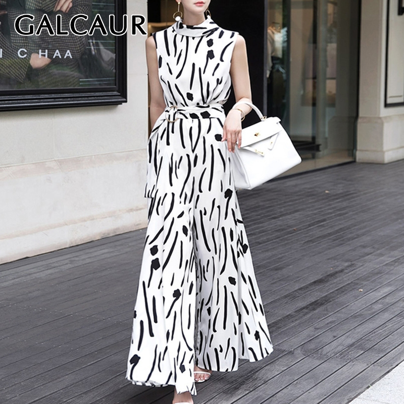 GALCAUR Korean Striped Hit Color Women's Jumpsuit Tank Sleeveless Off Shoulder High Waist Female Jumpsuits 2020 Spring Clothes