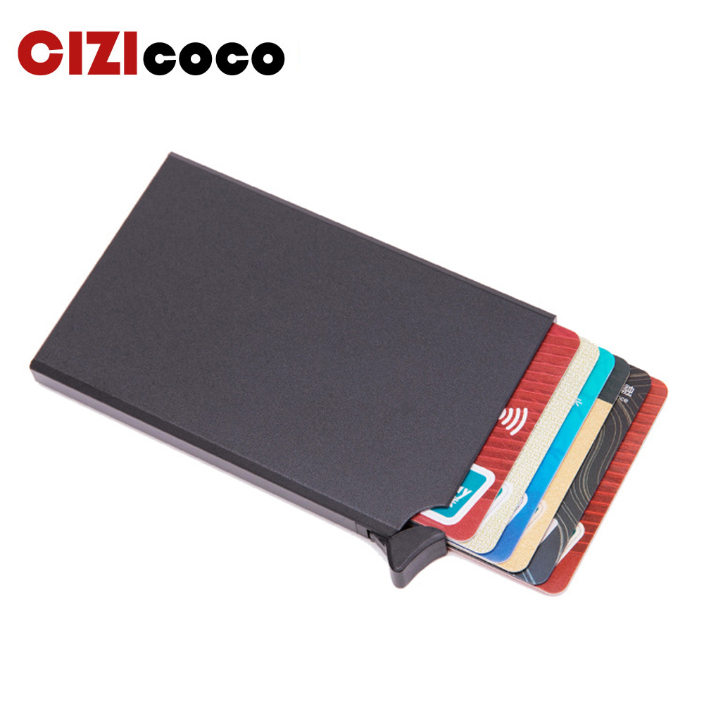 New  Metal Men Card Holder Rfid Blocking Credit Card Holder Mini Slim Wallet Automatic Pop Up Card Case Protector