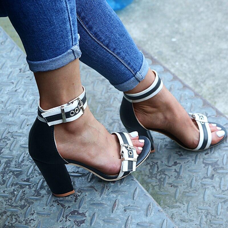 SLHJC/женские летние босоножки кожаные туфли-лодочки на высоком квадратном каблуке с открытым носком; большие размеры Модная женская обувь на...