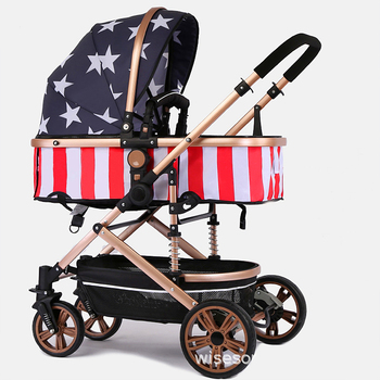 Fast shipping! Light weight travel Baby stroller 7pcs gifts portable can sit and lying folding baby high landscape stroller цена 2017