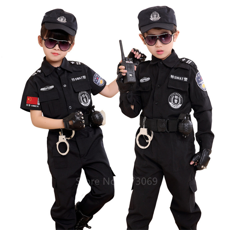 Children Traffic Police Cop Cosplay Costumes Policemen Uniform Girls Pleated Skirt Student Team Halloween Party Performance