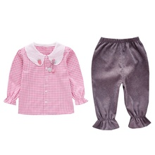 New Autumn Toddler Baby Girl Clothes Long Sleeve Plaid/Stripe Blouse Tops Pants Trousers Casual Outfits