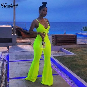 Women Elegant Spaghetti Strap V-Neck Suit Set Cami Top+ Pants Set Summer Fashion High Waisted Matching Sets Casual Women(China)