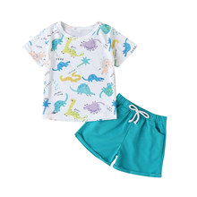 Toddler Baby Boys Summer Clothes Sets Dinosaur Print T-shirt Top + Short Pant Kid Boy 2 Piece Outfits(China)