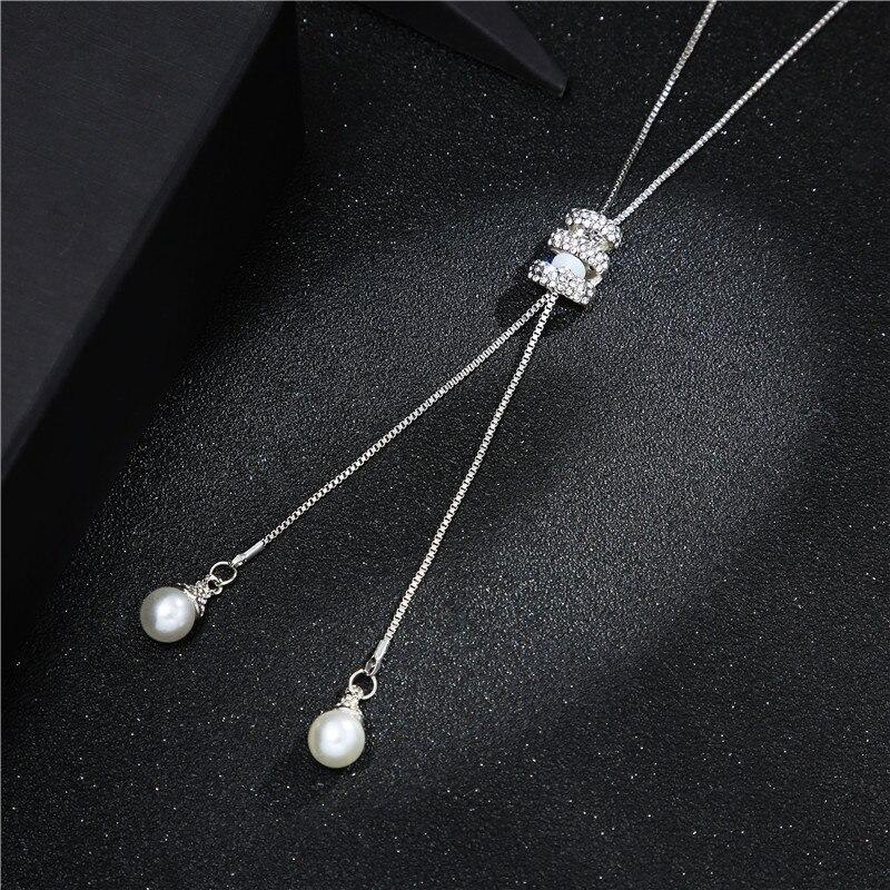 Высокое качество, модное металлическое серебряное длинное ожерелье с кисточками, хрустальное жемчужное ожерелье с длинной цепочкой, ожерелье для свитера, ювелирные изделия - Окраска металла: silver