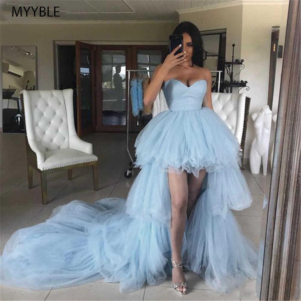 Sky Blue Hi-Lo Avondjurken 2020 Strapless Zipper Terug Tulle Lange Trein Jeugd Hoge Lage Formele Partij Prom jurken Robe De Soiree