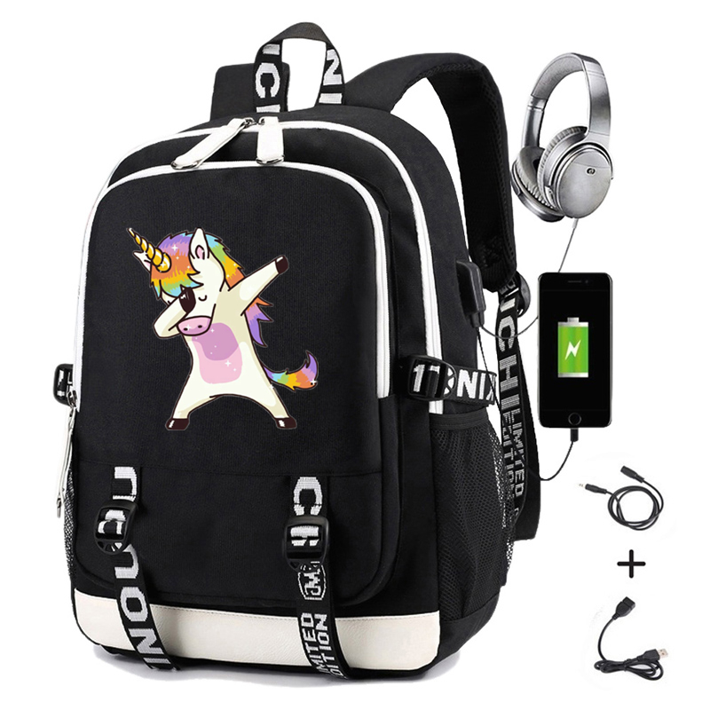 Dabbing Unicorn Backpack for School Teenagers Girls Backpacks with Charging USB Laptop Backpack Travel Casual Daypacks