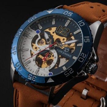 Relogio masculino skone Forsining водонепроницаемые часы с кожаным ремешком автоматические механические мужские часы reloj mujer