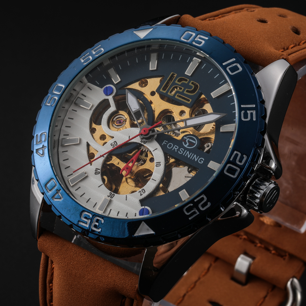 relogio masculino skone Forsining Water Resistant Leather Strap Watch Automatic Mechanical Men Watch reloj mujer