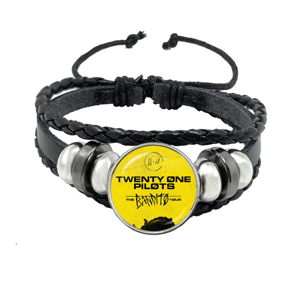 Hot Music Band Twenty One Pilots Rope Bracelet Black Button Leather Bangle Souvenir Trendy Rock Hiphop Jewelry Fans Gift