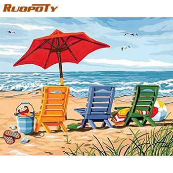 RUOPOTY  Beach chair Diy Painting By Numbers Kits For Adults Famous Picture Landscape Paint By Number Coloring Acrylic Paint