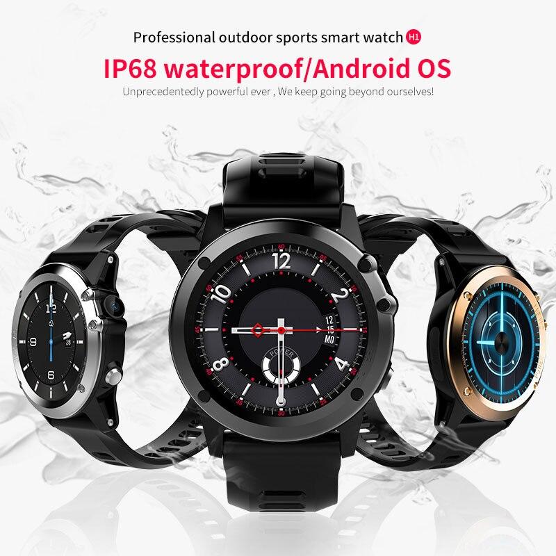 Купить с кэшбэком Microwear H1 Smart Watch Android 4.4 IP68 Waterproof GPS WiFi 3G MTK6576 4GB 512MB Sports Smartwatch Heartrate Bluetooth 4.0