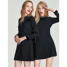 Хава зимнее приталенное черное платье полиэстер женское тонкое короткое черное ТРАПЕЦИЕВИДНОЕ ПЛАТЬЕ Q4138