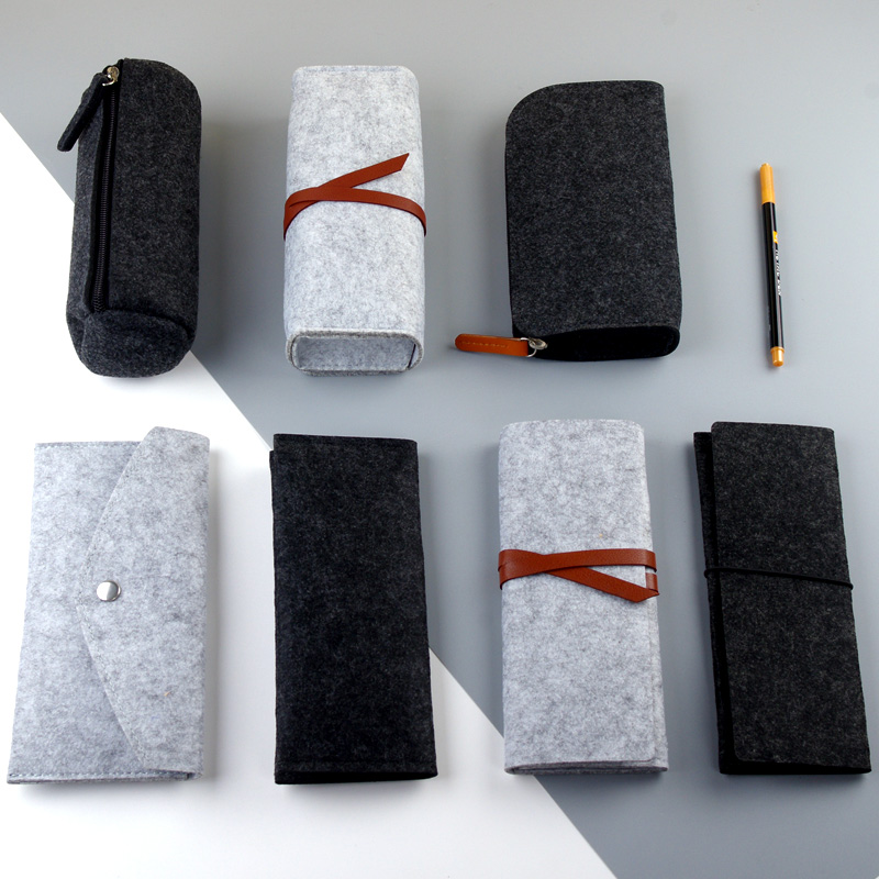 Minimalist Felt Pencil Bag Fabric Pencil Case Pencil Box Pencil Pouch Pencil Bag School Supplies Student Office Stationery
