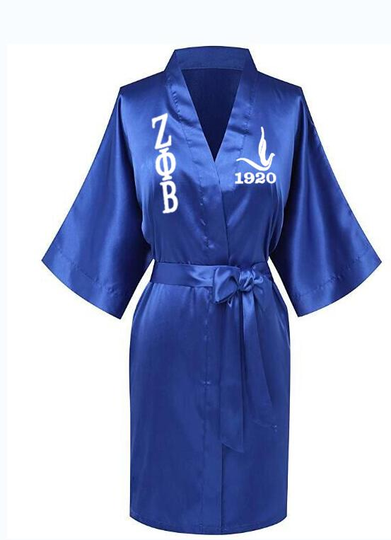 Custom Greek Letter Sorority White Blue Zeta PHI Beta Robe Sleepwear Silk Half Sleeve Nightwear For Women LadyRobes   -