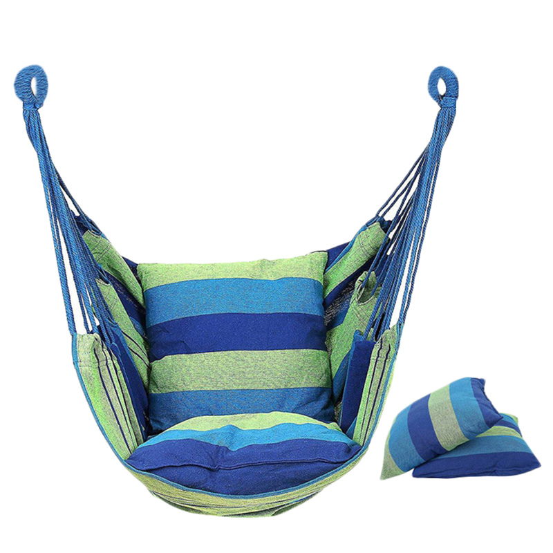 Hammock Chair Hanging Chair Swing Chair Seat With 2 Pillows For Indoor, Outdoor, Garden (Blue)