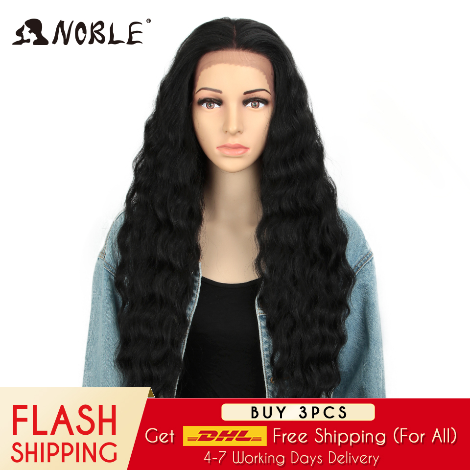 NOBLE 13x4 Lace Frontal Wig Cosplay Wigs For Black Women Ombre Blonde Wigs 28 Inch Long Wavy Heat Resistant  Synthetic Wig