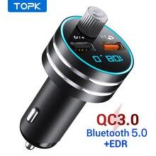 Topk Usb Autolader Quick Charge 3.0 Dual Usb Mobiele Auto Telefoon Oplader Met Bluetooth 5.0 Fm zender Handfree MP3 kaart